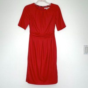 Boden Chic Wool Red Pleated Sheath Dress Size 4
